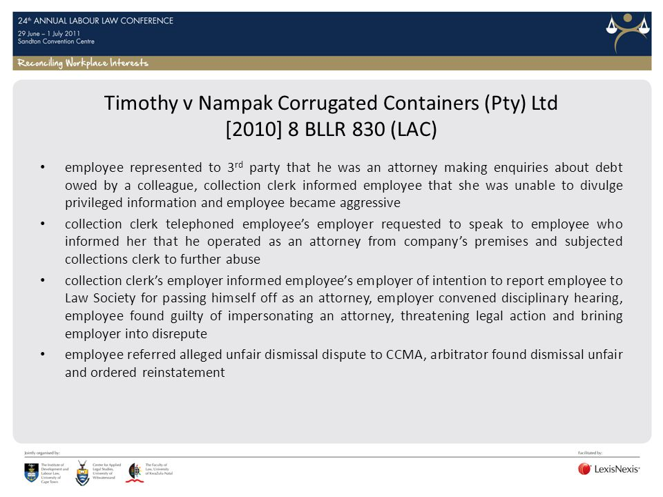 Timothy v Nampak Corrugated Containers (Pty) Ltd [2010] 8 BLLR 830 (LAC)